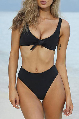 Sexy Knotted High Cut High Waisted Bikini Swimsuit - Two Piece Set