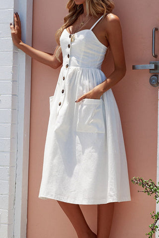 Holiday Shirred Spaghetti Beach Midi Dress