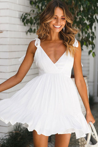 Enjoyable Low Back V Neck Beach Skater Dress