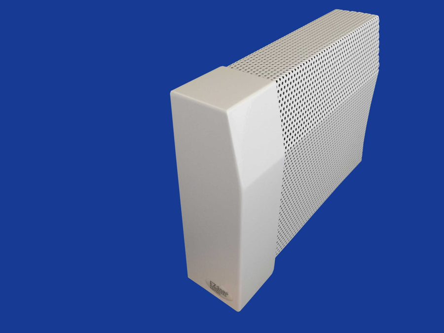EZ Snap Baseboard Heater Cover Tall White Left Endcap Closed