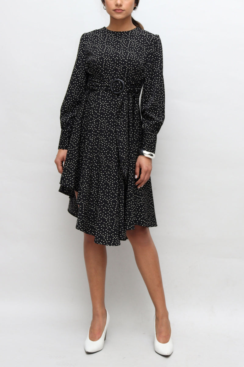 Polka Dot Asymmetrical Length Dress