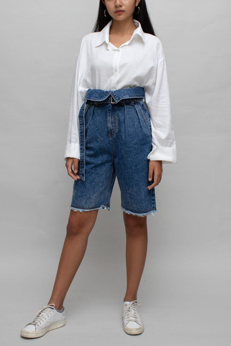 High Waisted Belted Denim Shorts