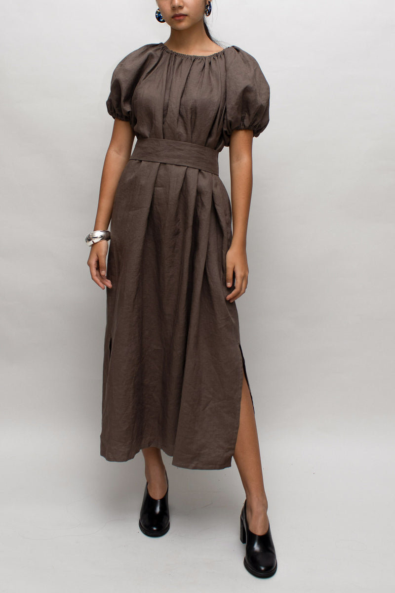 Brown Linen Puff Sleeves Dress