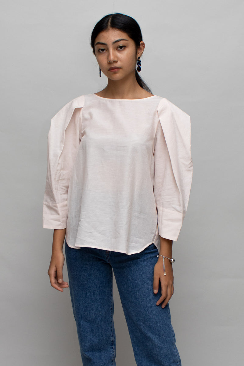 Light Pink Structured Sleeves Blouse