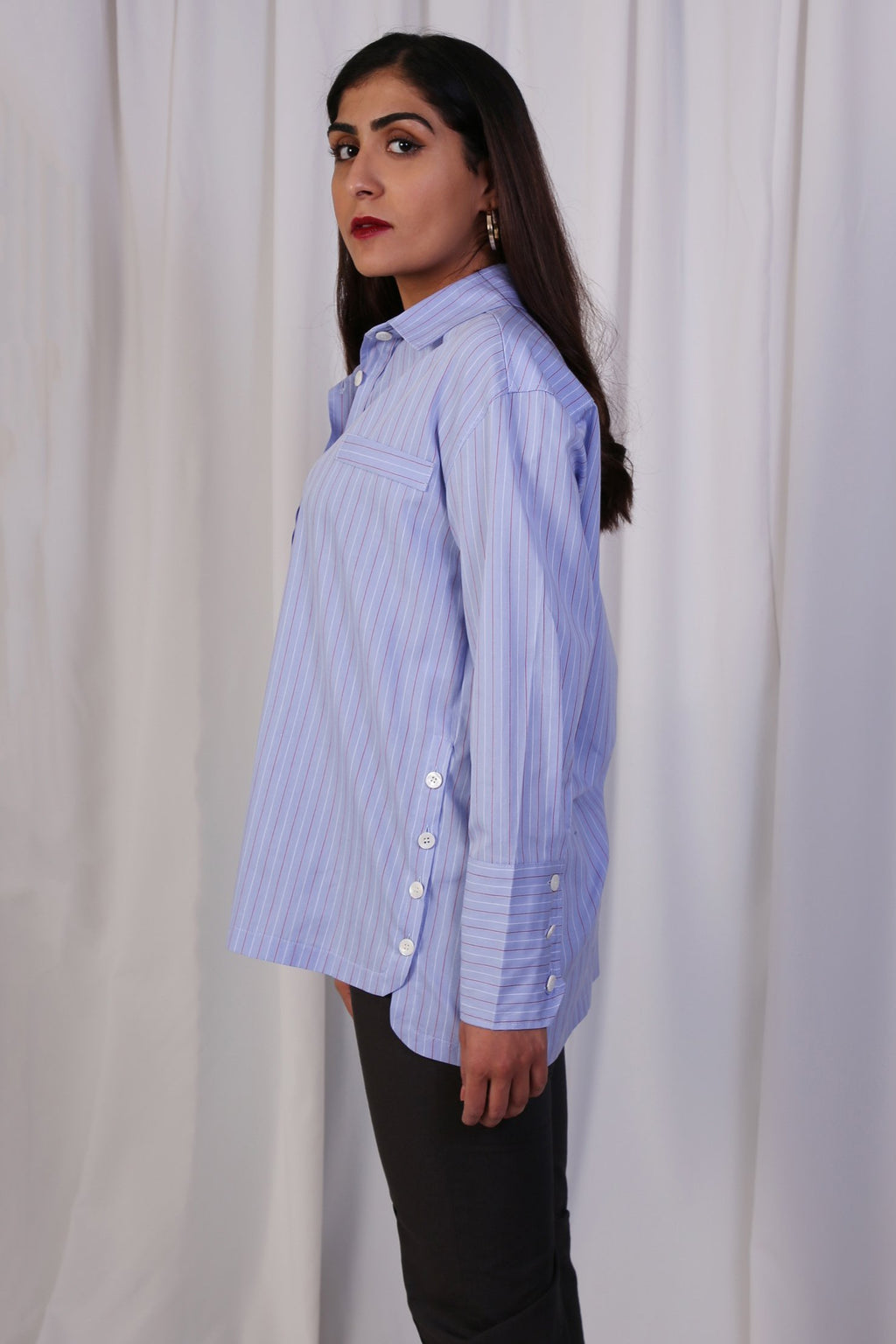 WANTS Blue Striped Buttoned Top
