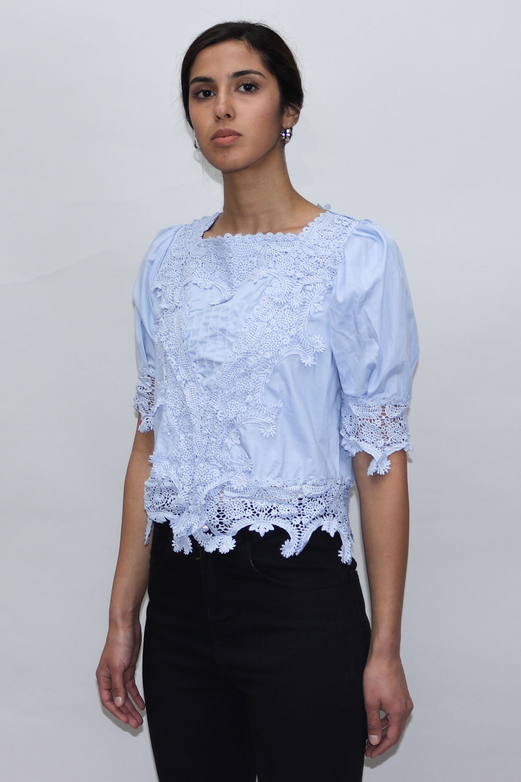 Blue Lace Puff Sleeves Top