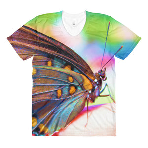 Colorful Butterfly - Sublimation women's crew neck t-shirt