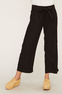 Black Inland Sashed Crop Pant
