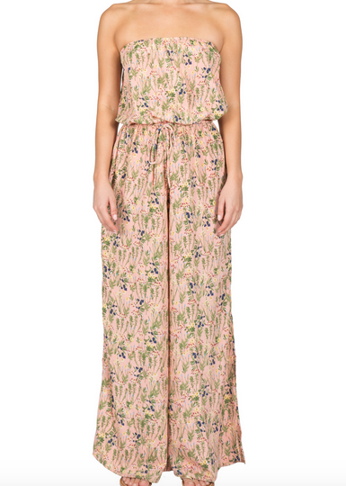 Blush Floral Strapless Tie Jumpsuit
