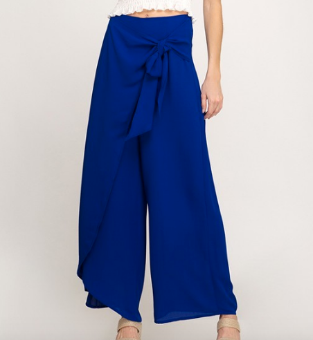 Blue Wide Leg Wrap Pants