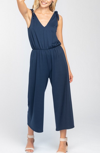 Navy Solid Shoulder Tie Jumpsuit