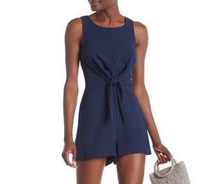 Navy Sleeveless Solid Romper