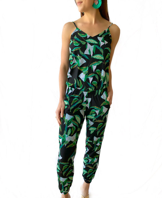 Black Leaf Tank Jogger Jumpsuit