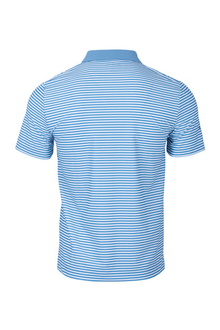 Men's Short Sleeve Slim Fit Stripe Polo With Matching Collar