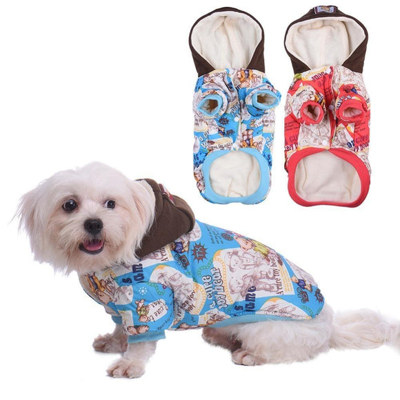 Pet Dog Cat Soft Warm Clothes Cartoon Coat Jacket Sweater Hoodies For Puppy Kitten Clothes Padded Apparel for Doggy Kitty - Swag for My Dog