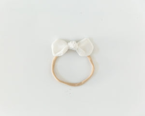 Corduroy Bow Headband in White