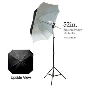 Black-White Square Shaped Umbrella Light Kit for Photography