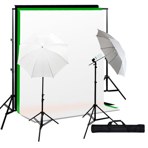 Photo Studio Umbrella Continuous Lighting Kit, Background Support, Black White Green 3 Muslin Backdrops