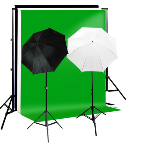 Umbrella Complete Photography Video Stuido Lighting Kits, Background Support, Black White Green 3 Muslin Backdrops