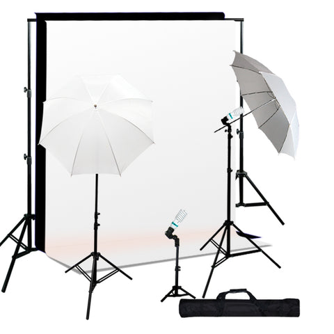 Photo Studio Continuous 3 Lighting kit, Background Support, Black & White Backgrounds