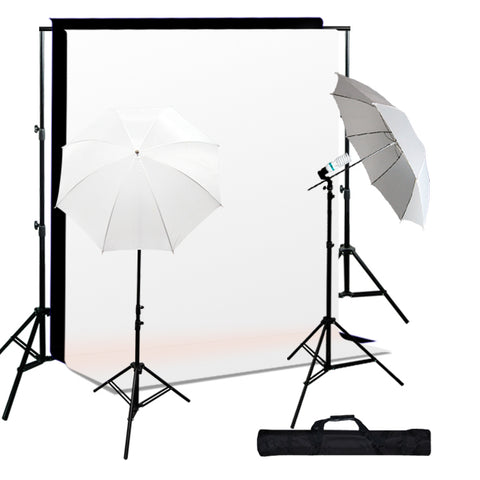 Photo Studio Continuous Lighting kit, Background Support, Black & White Backgrounds