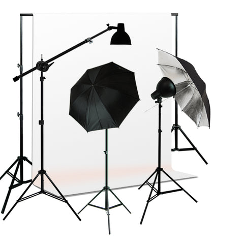 Photo Studio Reflector Umbrella Continuous 750W Boom Lighting kit, Background Support, Muslin Background