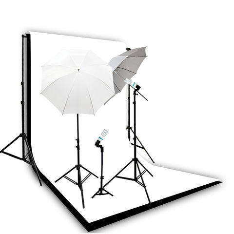 Photography Video Continuous Lighting Kit w/ Backdrop Support System, Black, White Muslin Backdrops