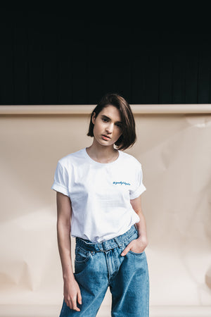 Shop #goodgirlscare tee white & blue embroidery by thegreenlabels on thegreenlabels.com