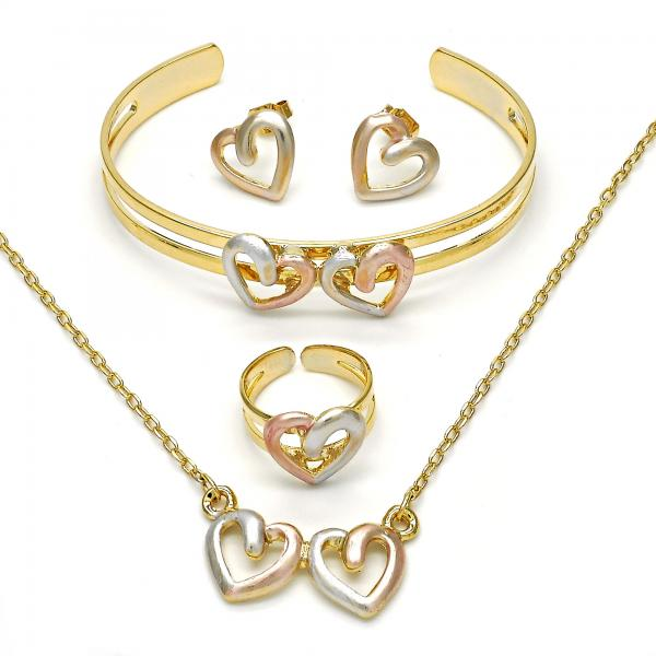 Gold Layered 06.65.0127 Earring and Pendant Children Set, Heart Design, Polished Finish, Tri Tone