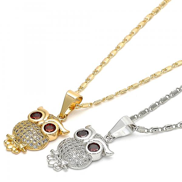 Gold Layered Fancy Necklace, Owl Design, with Cubic Zirconia and Micro Pave, Golden Tone