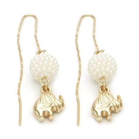 Gold Layered 02.02.0480 Long Earring, Elephant and Ball Design, with Ivory Mother of Pearl, Polished Finish, Golden Tone