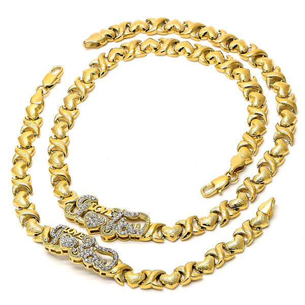 Gold Layered 06.185.0004 Necklace and Bracelet, Hugs and Kisses and Love Design, with White Crystal, Brushed Finish, Golden Tone