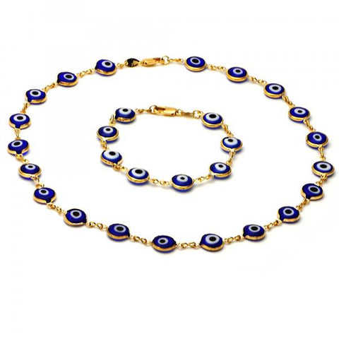 Gold Layered 06.63.0001 Necklace and Bracelet, Greek Eye Design, with Multicolor Opal, Golden Tone