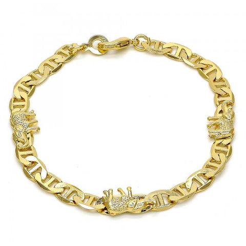 Gold Tone 03.213.0008.08.GT Fancy Bracelet, Elephant and Mariner Design, Polished Finish, Golden Tone