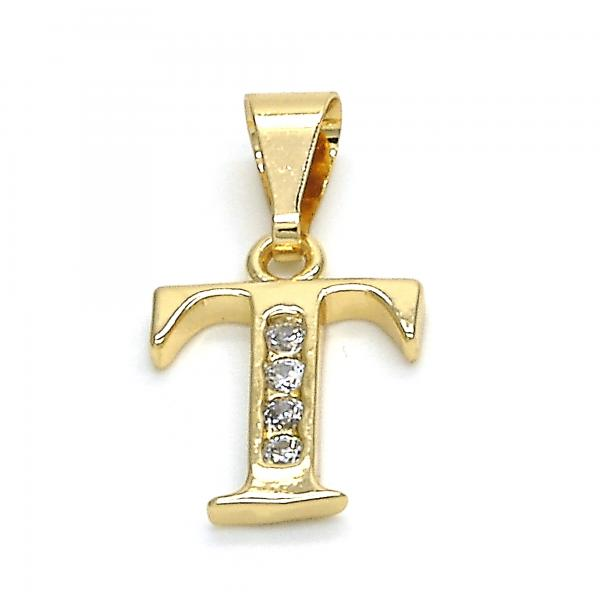 Gold Layered 05.26.0032 Fancy Pendant, Initials Design, with White Cubic Zirconia, Polished Finish, Golden Tone
