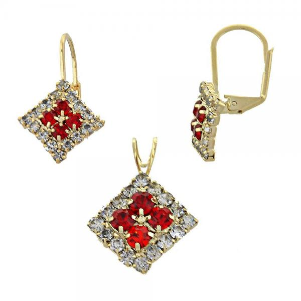 Gold Layered 5.056.008 Earring and Pendant Adult Set, with  Cubic Zirconia, Golden Tone