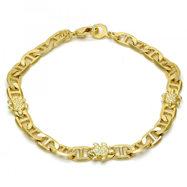 Gold Layered 03.213.0030.07.GT Fancy Bracelet, Turtle and Mariner Design, Polished Finish, Golden Tone