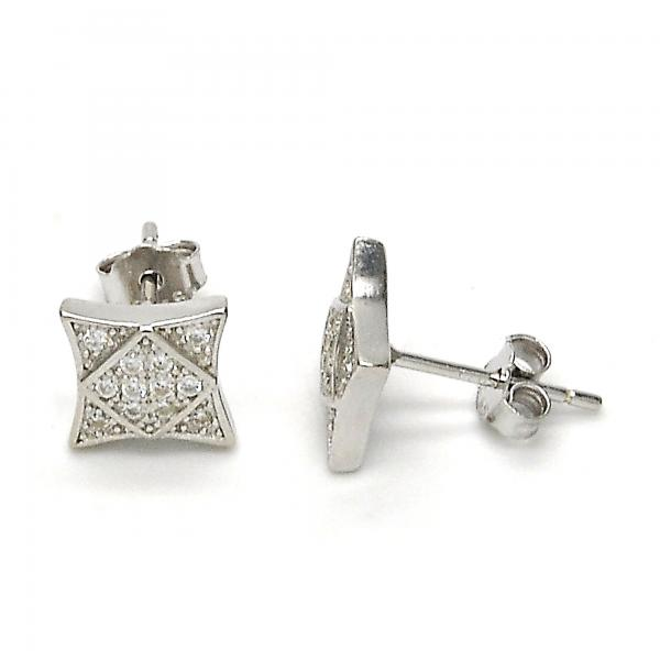 Sterling Silver 02.290.0011 Stud Earring, with White Micro Pave, Polished Finish, Rhodium Tone