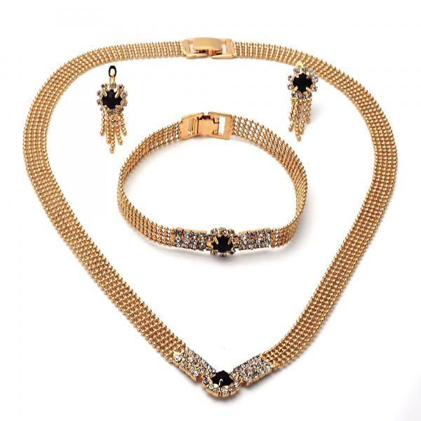 Gold Layered 5.012.002 Necklace, Bracelet and Earring, with  Cubic Zirconia, Golden Tone