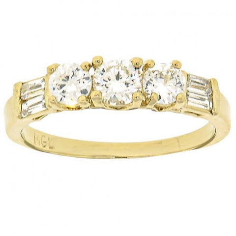 Gold Layered Wedding Ring, with Cubic Zirconia, Golden Tone