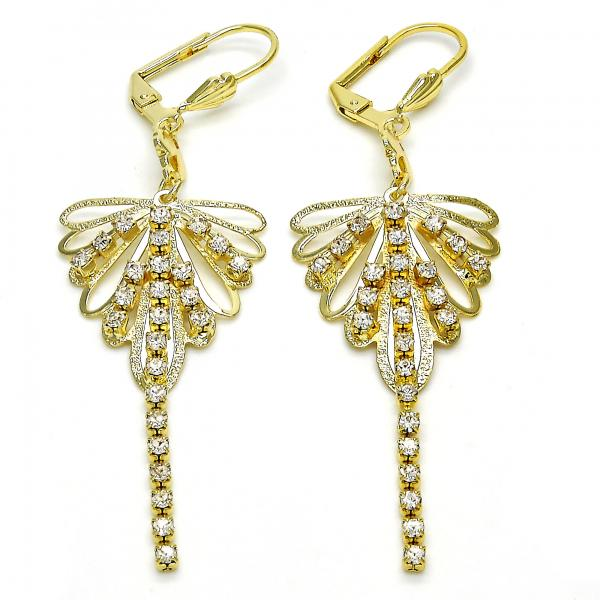 Gold Layered 02.270.0018 Long Earring, with White Crystal, Polished Finish, Golden Tone