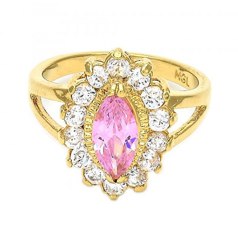 Gold Layered Multi Stone Ring, Cluster Design, with Crystal and Cubic Zirconia, Golden Tone