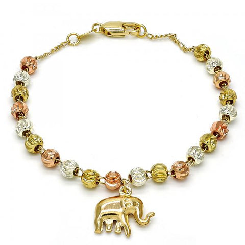 Gold Layered 03.253.0003.08 Charm Bracelet, Elephant Design, Diamond Cutting Finish, Tri Tone