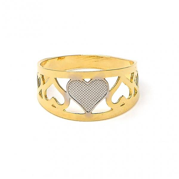 Gold Layered Baby Ring, Heart and Love Design, Two Tone