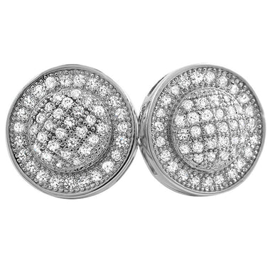 Domed Circle M CZ Micro Pave Bling Bling Earrings
