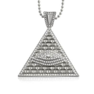 Eye of Providence Rhodium CZ Iced Out Pendant