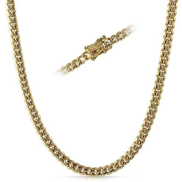 6MM Miami Cuban Chain IP Gold Steel Triple Lock