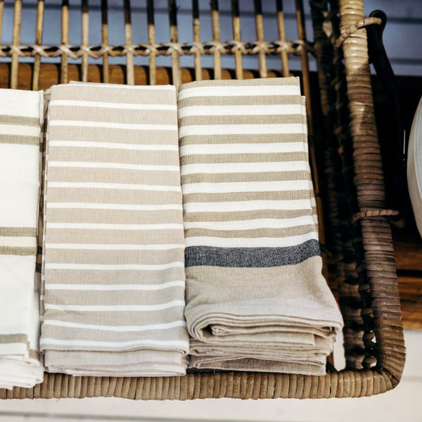 Brooklyn Natural and White Stripe Tea Towel