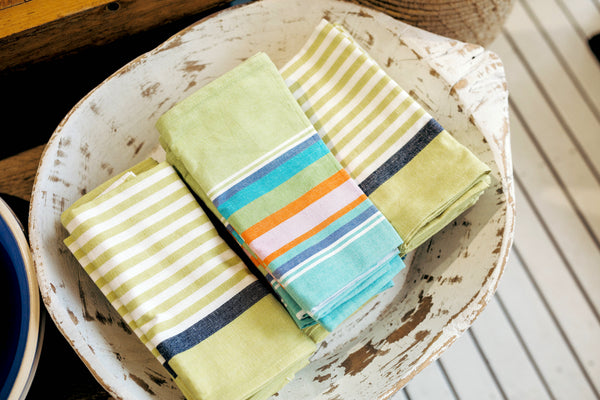 Papaya Lime Stripe Tea Towel
