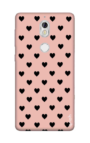Black Hearts On Pink Nokia 7 Cases & Covers Online